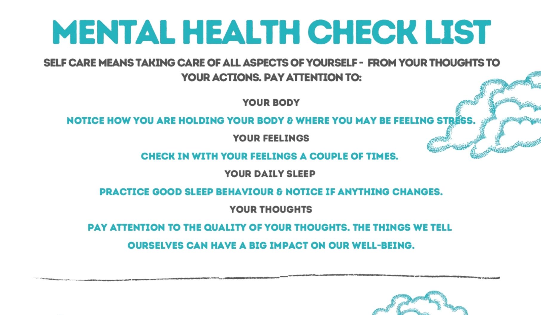 The Self Centre Mental Health Checklist